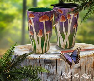 Orange Village Mushroom Mugs